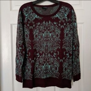 🛍️ Beautiful Burgundy & Teal Print Sweater Tunic